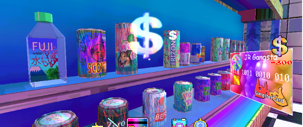 a vaporwave inspired bar, a picture from the game Broken Reality.