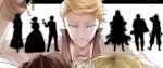 A sly looking blonde man towering over the heads of there other people, his left hand aloft and dropping a handful of spent casings.