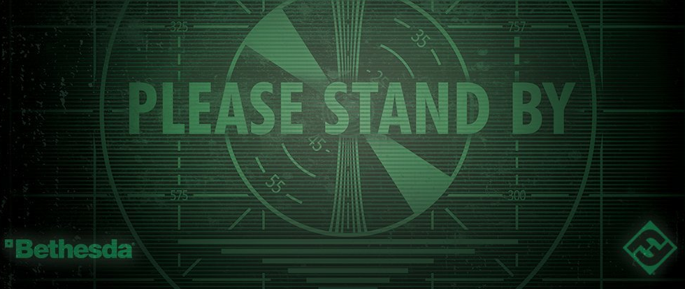 "A test screen that reads ""Please Stand By"" with logos for Bethesda and Fantasy Flight along the bottom."