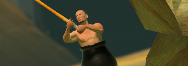 A man in a cauldron, hefting a sledgehammer as he tries to cilmb up a rocky precipice.