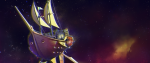 A space pirate ship floating in the atmosphere of a galaxy. This is a piece of key art for the game Mutiny!!