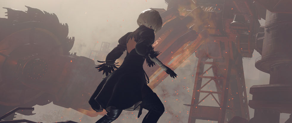 A woman with a silver bob and a black dress stands facing a giant mech. This is a still from NieR Automata
