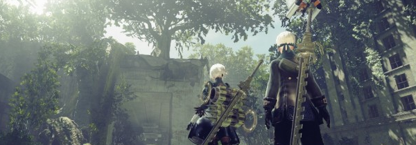 Two figures standing and looking out on a lush forest. This is a still from Nier Automata