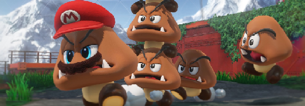 A mario-hatted goomba, running away from other goombas
