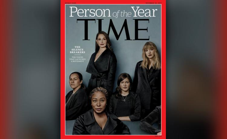 "The cover of Time Magazine featuring ""Person of the Year"" the silence breakers, and an array of women seated and standing in black."