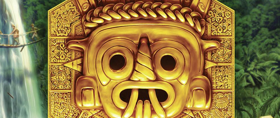 A golden idol head.