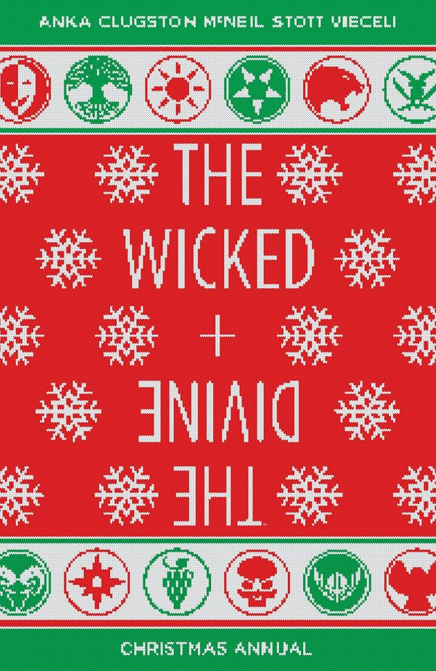 "A green and red christmas sweater style comic book cover that reads ""The Wicked and the Divine"" with ""The Divine"" segment stylized and upside down."