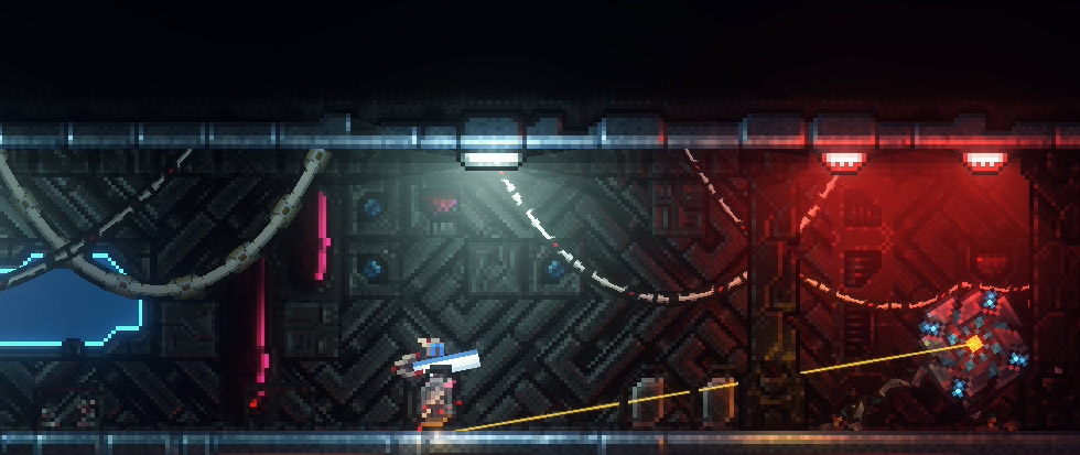 illuminated by dim overhead lighting, a pixel art turret stands in a long hallway bathed in blue and red. this is a still from the game megasphere