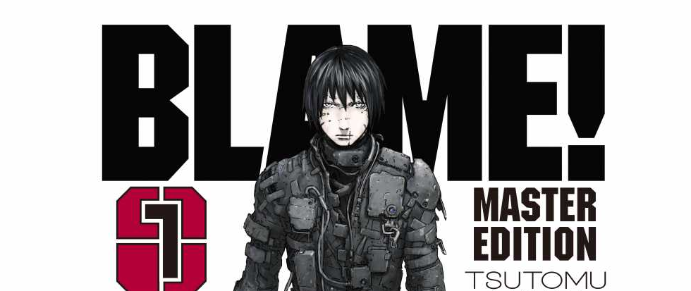 "A sullen looking man with long black hair, wearing a strange black future suit. Behind him the text reads ""Blame"""