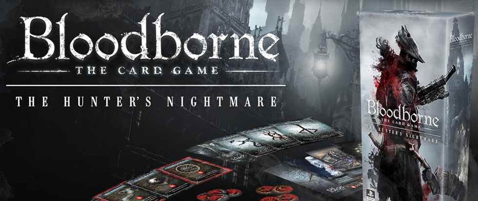 "A box for the Bloodborne cardgame with text that reads ""Bloodborne :the Card Game"" The Hunters Nightmare"