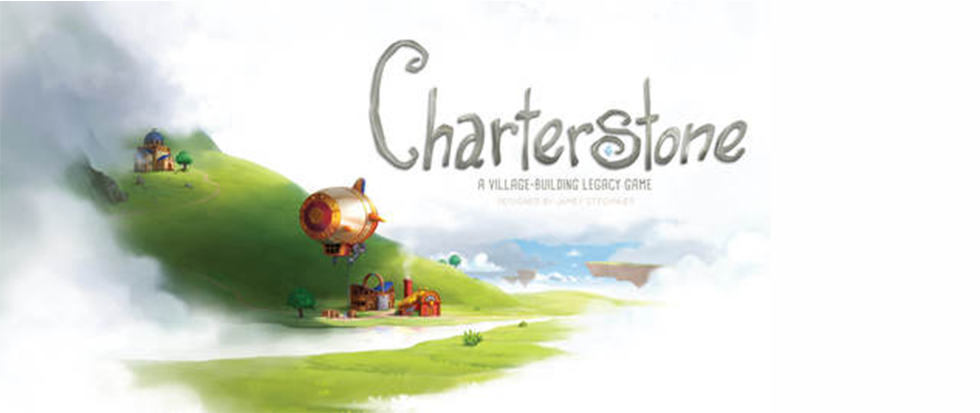 """A green hill with a zeppelin cutting across, big text that reads """"Charterstone"""""""