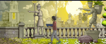 On a pathway, a boy walks with a blue bowl, statues pointing him the right direction.
