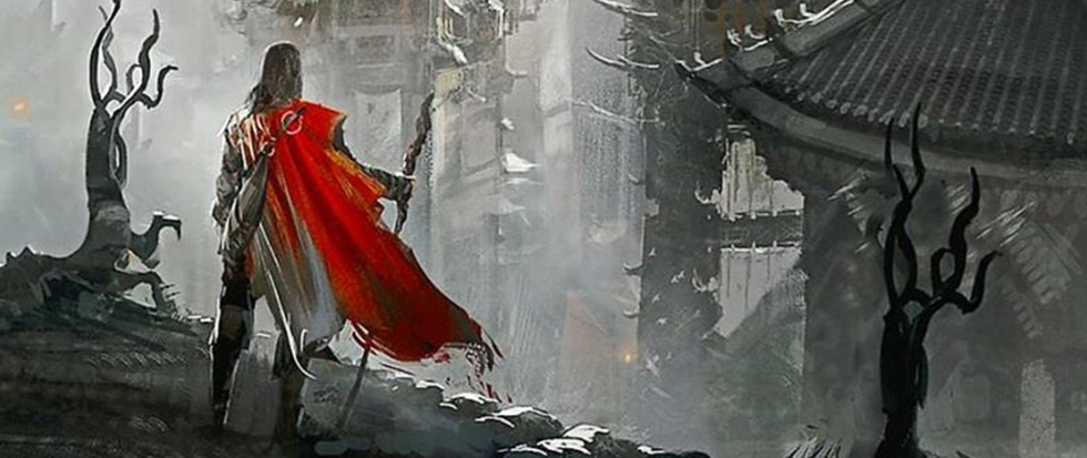 A man facing towards a grey, foggy area with a staff and a red cape in the wind. This is the cover art for Raymond A. Feist's book Magician.