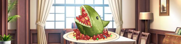 A watermelon carved into the shape of a shark, surrounded by snippets of watermelon.