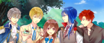A young brunette girl with a bright blue bowtie surrounded by a cadre of attractive Japanese male characters, one iwth long blue hair, one with short red hair, one with short gray hair and one with yellow blonde hair