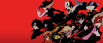 A series of Japanese anime characters in half masks in front of a bright red background. This is a promotional image for Persona 5