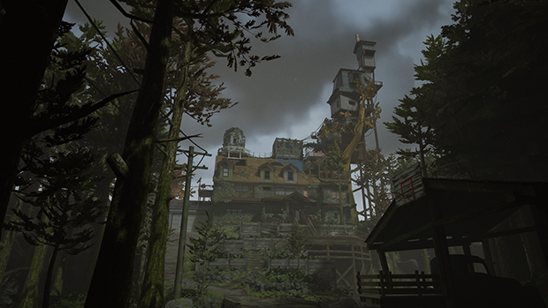 A crumbling house, with a tall spire that gets smaller the closer it gets to a cloudy sky. This is a still from the game What Remains of Edith Finch.