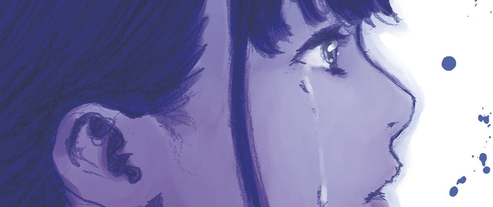 A blue girl with tears streaming down her face stairs into a speckled white abyss.