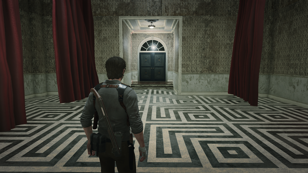 a man stands looking at a far off doorway, the floor a labyrinth of white and black tile. This is a still from the Evil Within 2