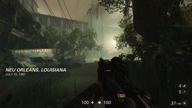 A foggy light, a gun pointed from the character. This is a still from Wolfenstein 2: The New Colossus