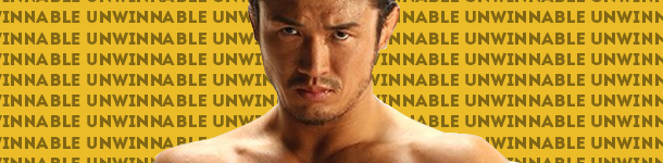 "An asian man, Katsuyori Shibata, staring directly into the camera with intensity. Behind him is a computer generated background that is the word ""unwinnable"" over and over again."