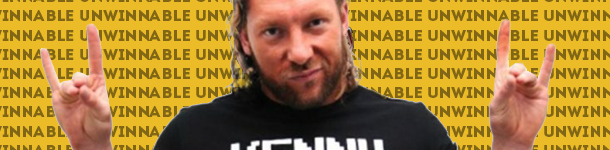 "A white guy with a stare straight to camera, his hair long and his hands up in rock in pose. This is Kenny Omega. Behind him is a computer generated field of yellow punctuated by the word ""Unwinnable"" repeatedly."