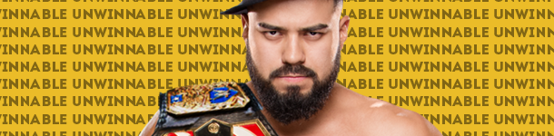 "A man with a beard stares into the camera, this is Andrade Cien Almas. He is barechested with a fedora cocked on his head and a wrestling championship belt slung over right shoulder. Behind him is text that reads ""Unwinnable"" on repeat."