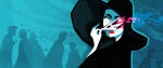 A woman in a large black hat and robe peels back the skin on her face to reveal the pink exposed flesh beneath. This is a promotional image for Cultist Simulator.