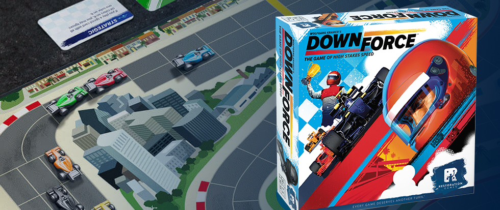 The board game Downforce, the box, with the set behind.