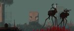 a white slug cat standing on top of a red chicken legged walker in a post apocalyptic world.