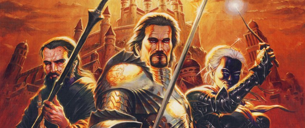 Three questing adventures, a human knight, a dark elf and a dwarf stand poised on the edge of a orange city. This is the cover art for the Lords of Waterdeep.