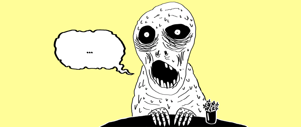 A ghoulish figure with a gaping mouth and skeleton fingers resting on a table, a speech bubble standing empty next to its gaping maw. The background is in a gentle shade of yellow.