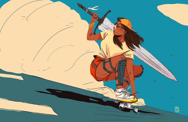 4 sword skater chick