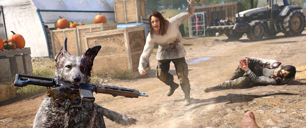 A woman in a large white dirty tshirt and cargo pants, wields a bat at a dog running away gleefully with an assault rifle in its mouth. Behind her in the dust is a bleeding man.
