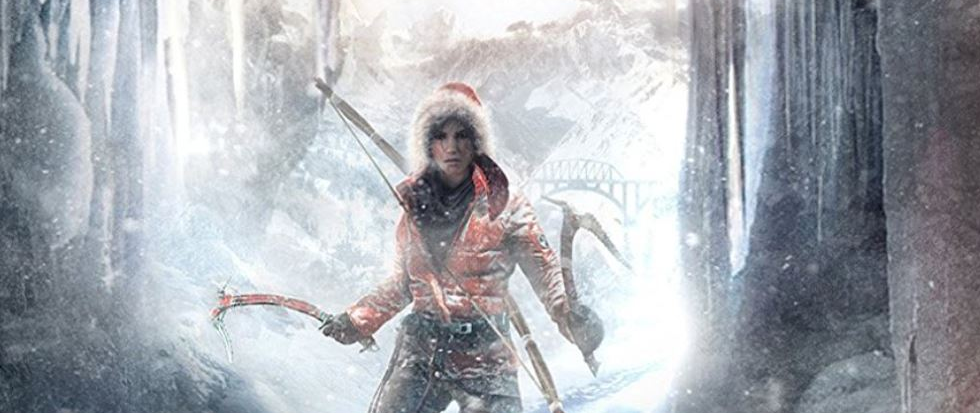 Lara Croft, in a thick parka and holding an ice ax.