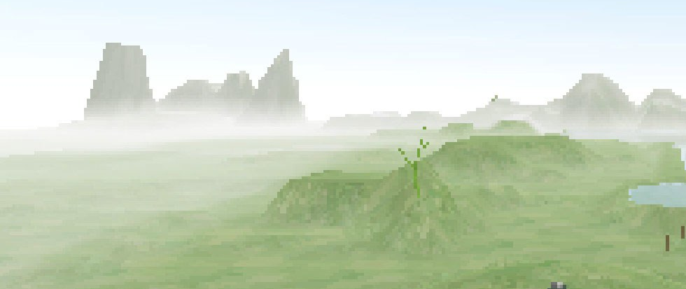 A pixel landscape of soft green rolling hills wth mountain like ridges in the background. This is a still from the game All Our Asias.