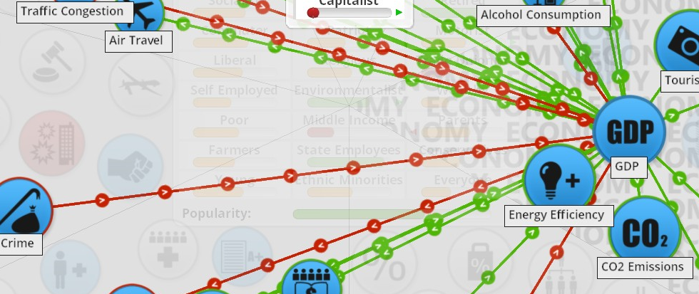 "stretching green and red lines that dot like train lines across a grey scale background. Hubs are in bright blue with text that reads ""GOP."" This is a still from the game Democracy 3"