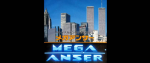 "A computer screen for a console showing japanese text, a skyline and the text ""mega anser"" in bright blue."