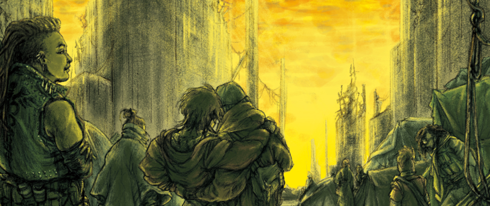 RPG character standing in illustrated relief behind two other people.