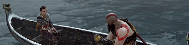 Kratos, bald and his shoulders bared, sits on the boat facing his son Atreus