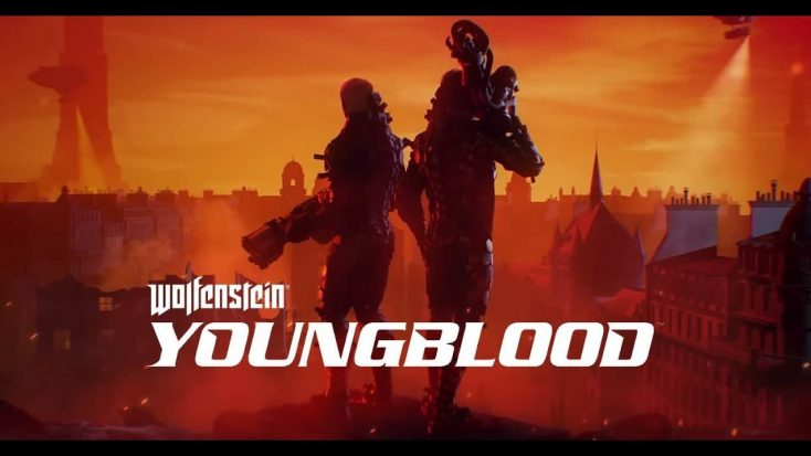 Two slim armored figures stand silhouetted before a blood red city, the text in front of them reads in crisp white font: Wolfenstein Youngblood