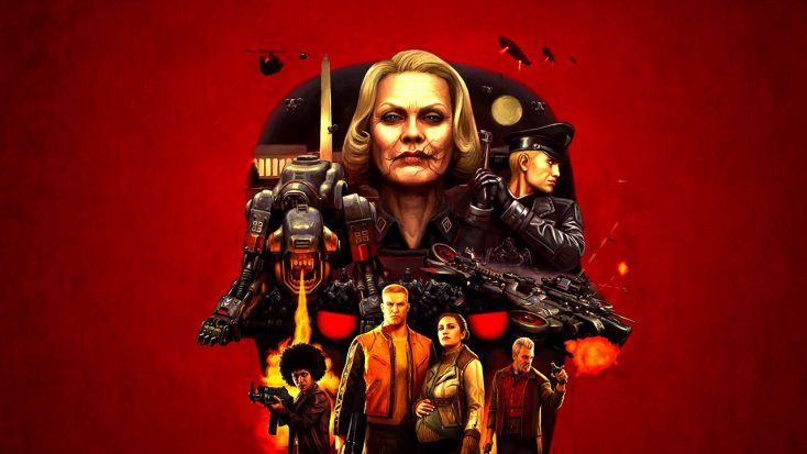 Frau Engel, a sharp faced blonde woman with a scar across her face, stands imperiously over the rest of the cast of Wolfenstein 2