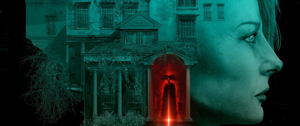 A womans face is illustrated into the blue silhouette of a house, a piercing red coming from the opening door.