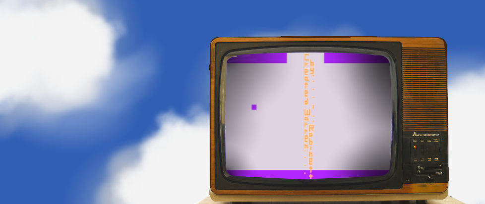 a television screen showing the easter egg from Adventure, posed against a cloudy sky.