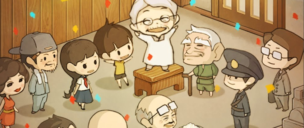 in gentle line art there is a tiny grandma standing exuberantly on top of a table her arms upstretched