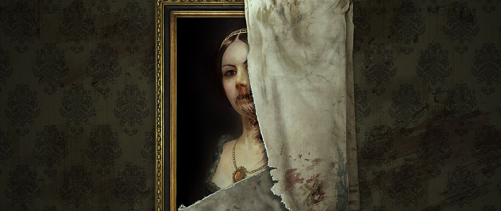 A decaying portrait peaking out from behind a a terrifying curtain.