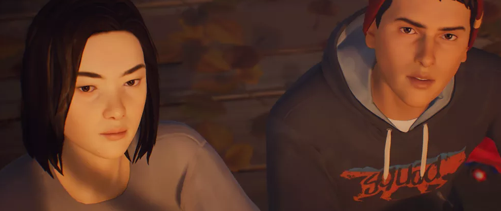 A young woman and a young man lounge together. This is a still from Life is Strange 2.