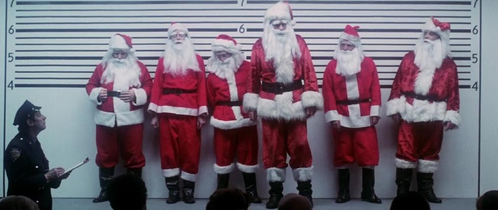 A series of Santas along a back wall.