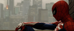 Spiderman sitting looking out over a story.