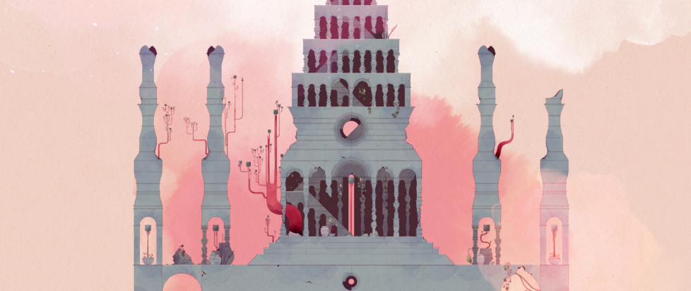A strange building, with spires and grey black windows, set against a pink red sky.